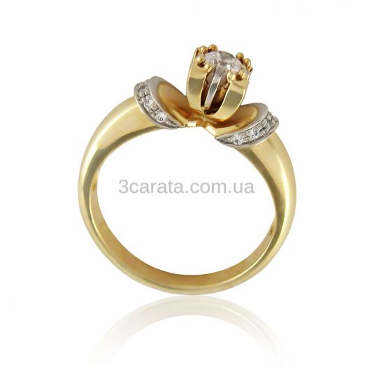 Золотий перстень з кристалами Сваровські «Тесоро»