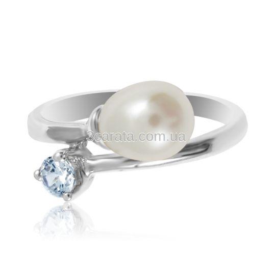 Золоте кільце з перлами «Diva»