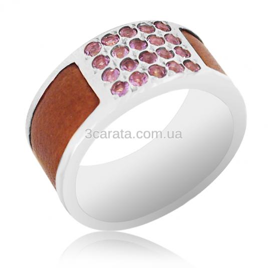 Золотое мужское кольцо с аметистами и кожей