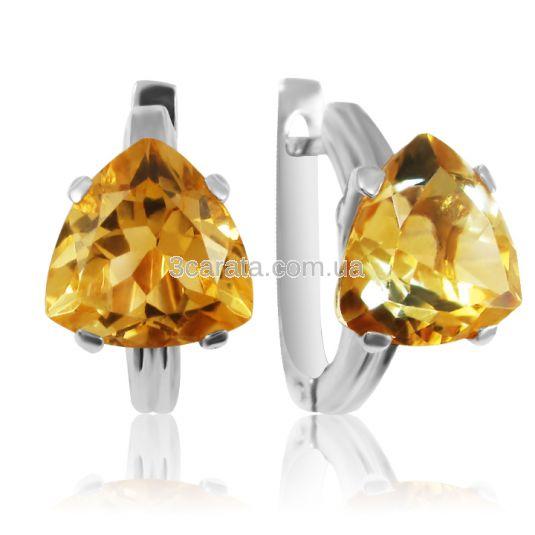 Золоті сережки с цитринами