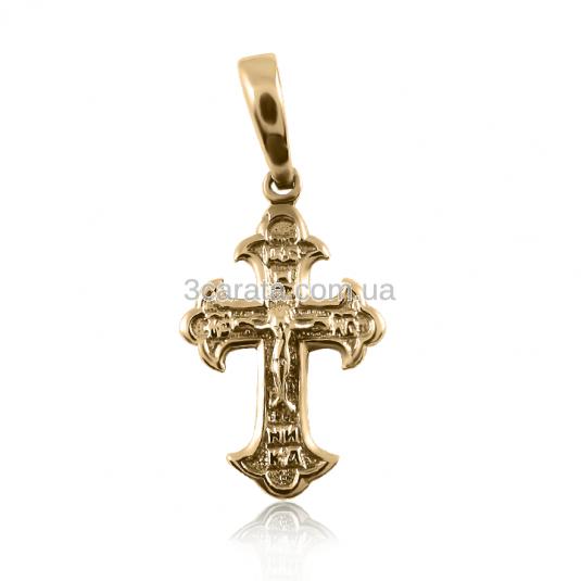 Золотий хрестик без вставок з розп'яттям