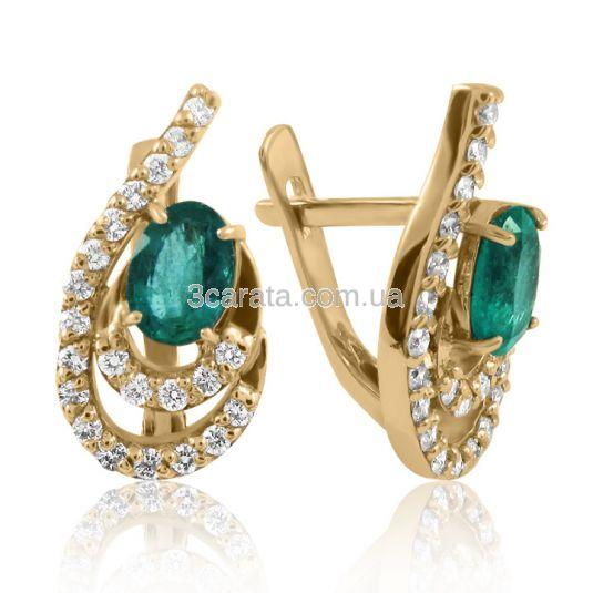 Золоті сережки зі смарагдами «Казка»