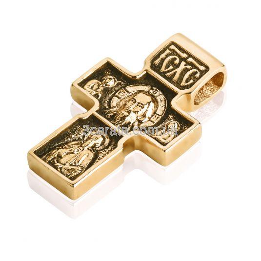 Золотий хрест з чорнінням «Спас Нерукотворний»