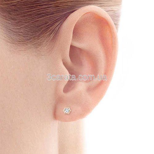 Сережки зірочки з діамантами 0.30 Ct «Petit»