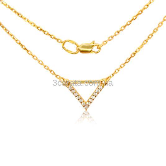 Золоте кольє з цирконієм «Геометрія»