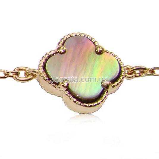 Золотий браслет з перламутром «Lucky clover»