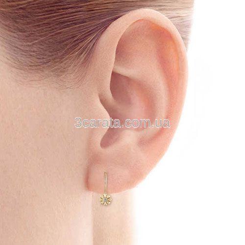 Сережки золоті з діамантами для дівчинки «Квіточки»