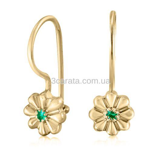 Сережки золоті з смарагдами для дівчинки «Квіточки»