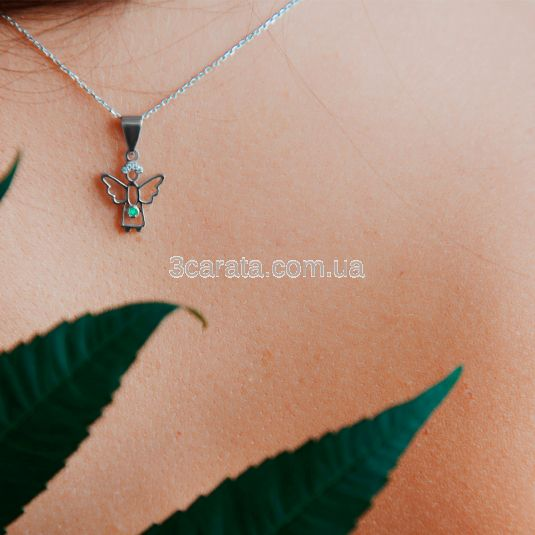 Підвіска янголя з смарагдом і діамантами «Gentle angel»