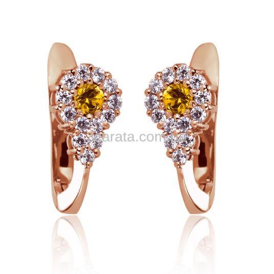 Золоті сережки з цитрином «Зимова фантазія»