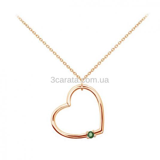 Золотий кулон з смарагдом «Серце»