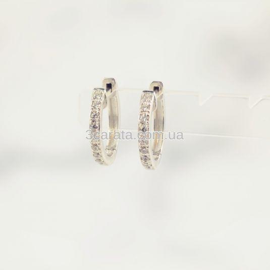 Золоті сережки-конго з фіанітами «Circle»
