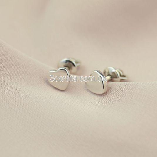 Золоті сережки гвоздики з сердечками «San Valentin»