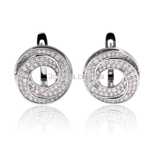 Ексклюзивні золоті сережки Сваровські «Принцеса Лея»