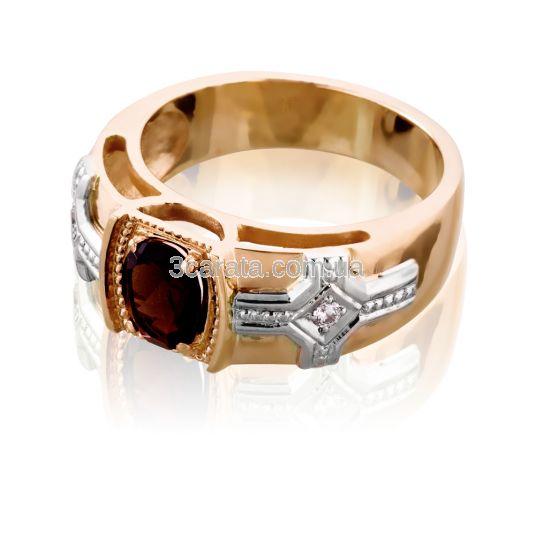 """Золоте чоловіче кольцо з раухтопазом  """"Королівська печатка»"""