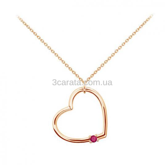 Золотий кулон з рубіном «Серце»