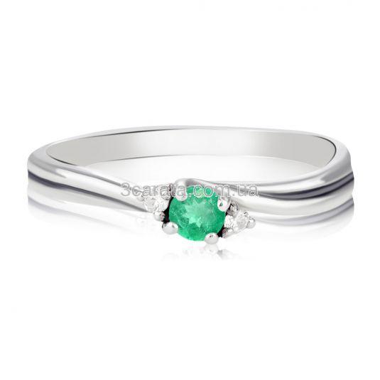 Золота каблучка «Евері» з смарагдом та діамантами для пропозиції