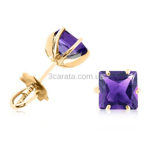 Золоті сережки гвоздики з аметистами «VIVA квадрат»
