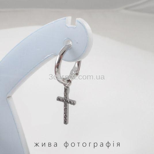 Золоті сережки «Хрести» з чорними діамантами