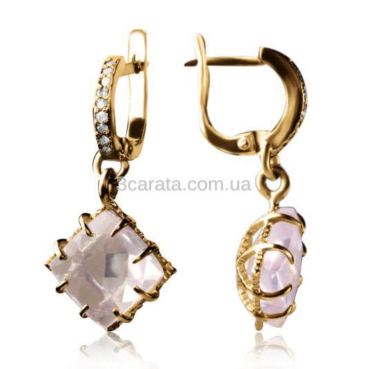 Золоті сережки з рожевим кварцом «Ida»