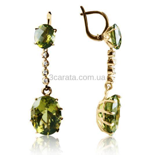 Золоті сережки з кварцом «Olive quartz»