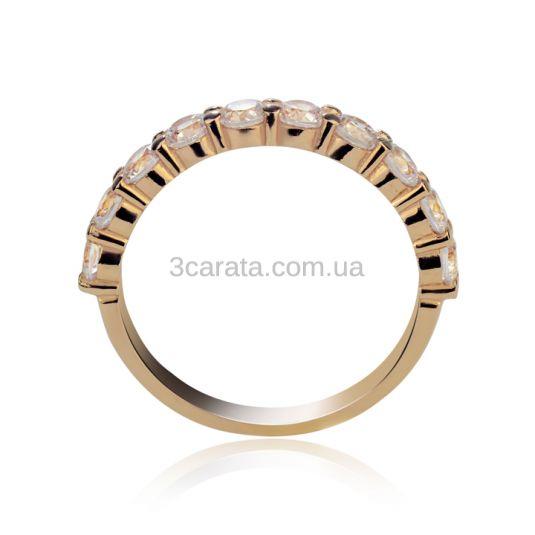 Золота каблучка з доріжкою діамантів загальною вагою 1 Ct «Восторг»