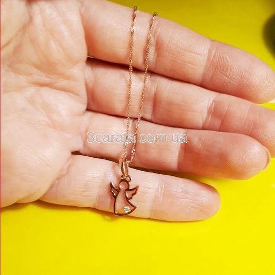 Золотий кулон «Ангел» з діамантом