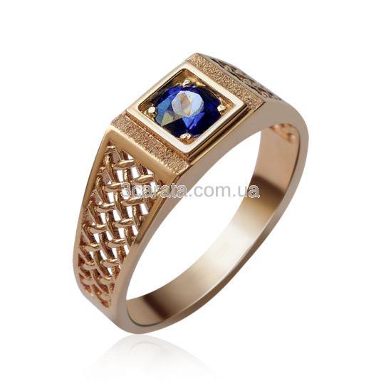 Золотий чоловічий перстень з сапфіром «Венеція»