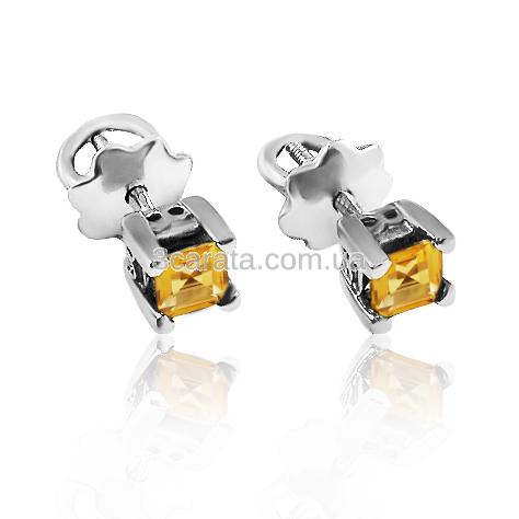 Золоті сережки з цитринами «Гармонія»