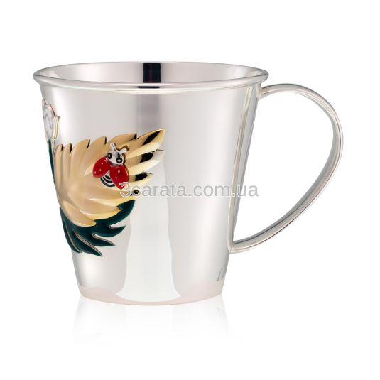 Срібна чайно-кавова чашка з емаллю «Дитинство»