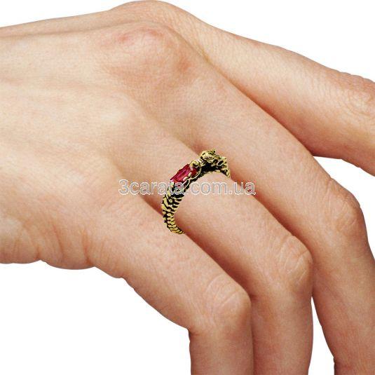 Золоте кольцо з рубіном «Серце дракона»