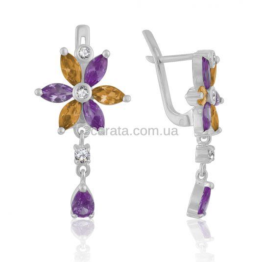 Золоті подовжені сережки - квіти з аметистами «Чудові»
