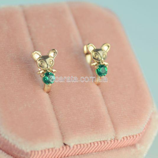 Золоті дитячі сережки з гідротермальним смарагдом «Мишка»