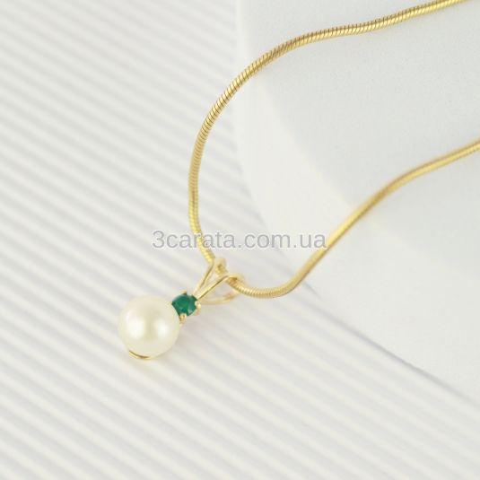 Золотий кулон з перлиною та зеленим агатом «Креолка»