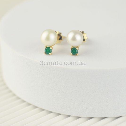 Сережки пусети з перлами і зеленим агатом «Креолка»