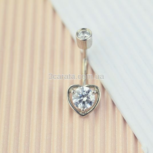 Серьга в пупок у вигляді сердечка «Preferita»