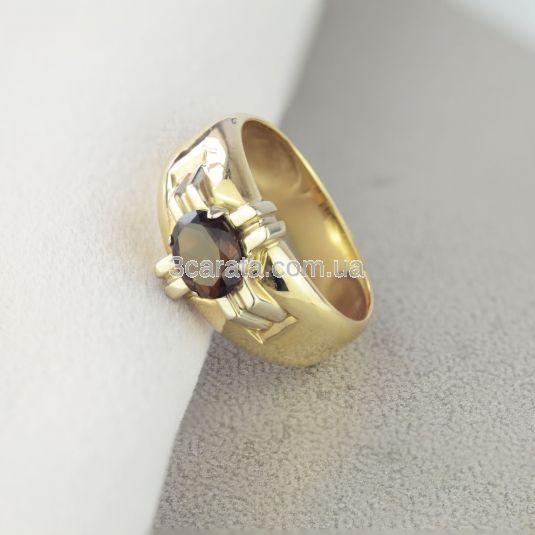 """Золотий перстень з раухтопазом """"Лицарський орден»"""