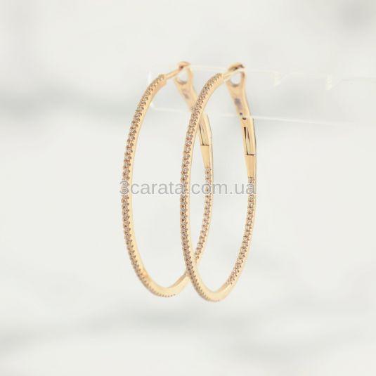 Золоті сережки-кільця з фіанітами «Dreamy»