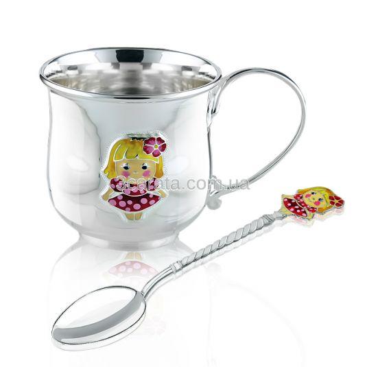 Срібний набір чашка та ложечка  для дівчинки «Модниця»