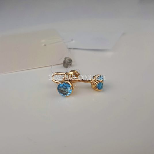 Золоті сережки пусети з топазами «Mila»