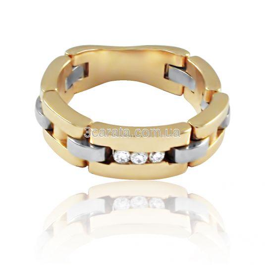 Золота широка обручка ланцюг з діамантами df2e85c07447a