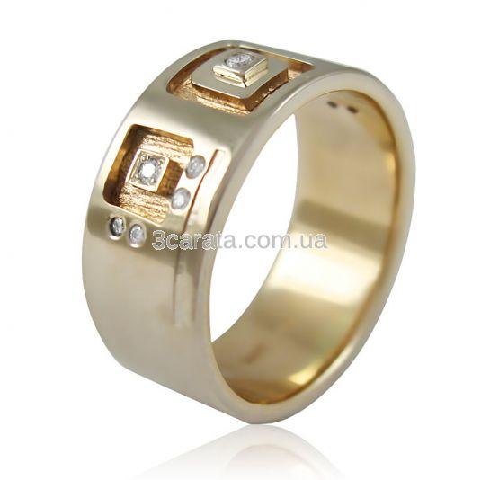 Золота широка обручка з діамантами «Сімейне вогнище» a780c28189990