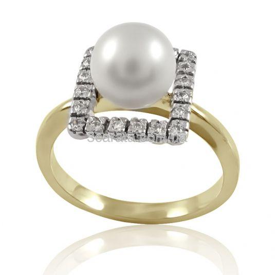 Золота каблучка з перлами «Світський раут»