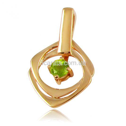 Золотой кулон c хризолитом «Афина»
