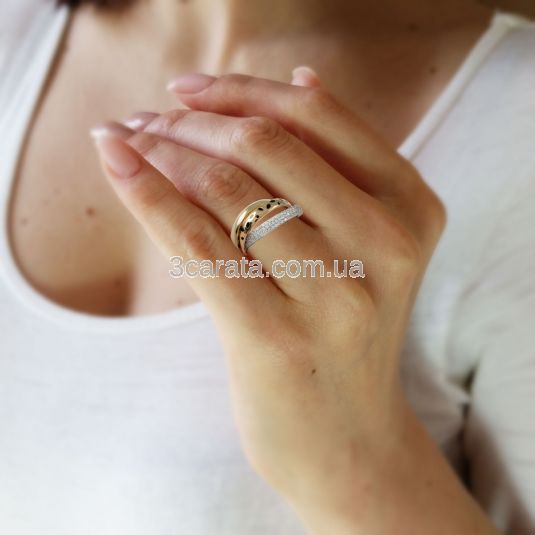 Золоте потрійне весільне кільце «Трініті»