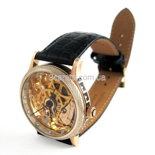 Золотий годинник «Skeleton» з діамантами fb477a87e77b3