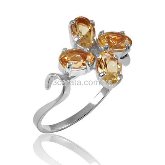 Золоте кільце з цитрином «Анжела»