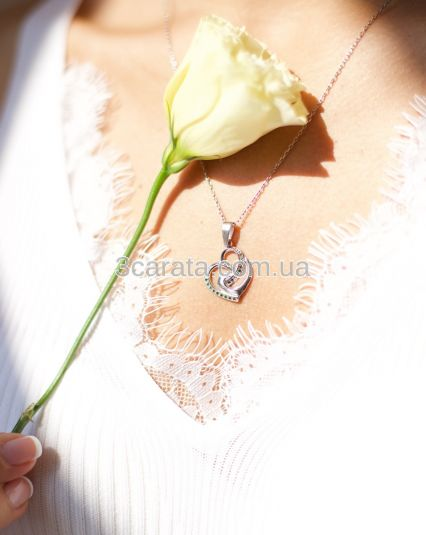 Кулон сердечко з діамантами «Переплетення сердець»