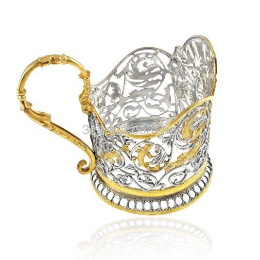 Срібний підстаканник з позолотою «Сказки Пушкина»