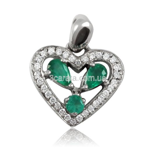 Золотий кулон сердечко «Смарагдове серце»